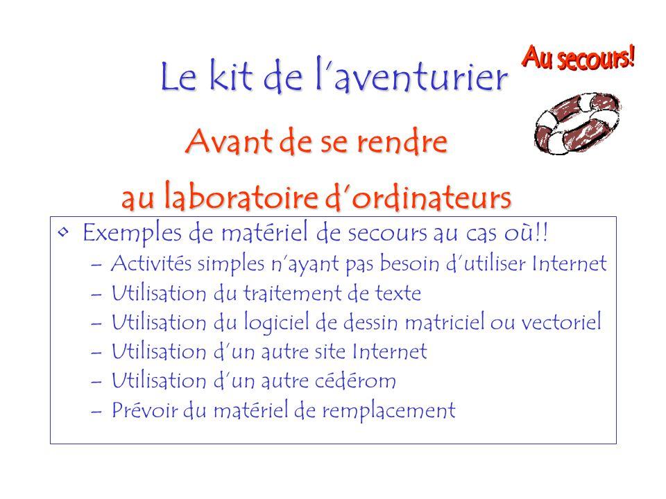 Le kit de laventurier Exemples de matériel de secours au cas où!! –Activités simples nayant pas besoin dutiliser Internet –Utilisation du traitement d