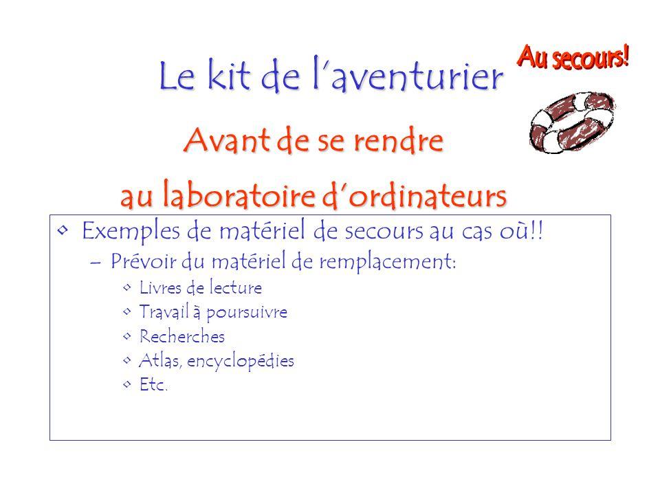 Le kit de laventurier Exemples de matériel de secours au cas où!! –Prévoir du matériel de remplacement: Livres de lecture Travail à poursuivre Recherc