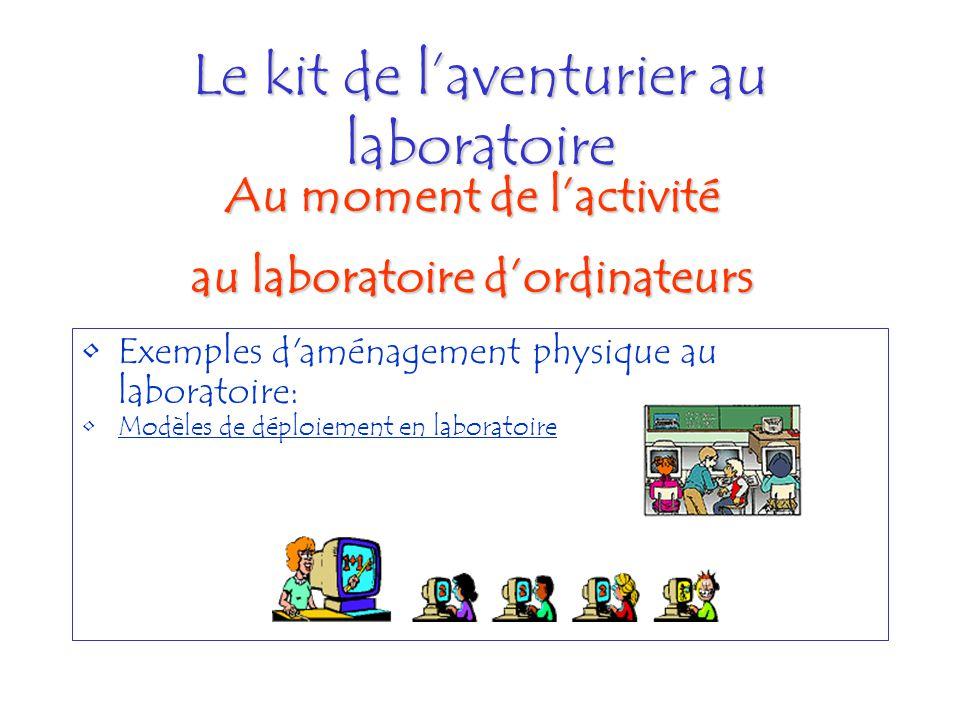 Le kit de laventurier au laboratoire Exemples d'aménagement physique au laboratoire: Modèles de déploiement en laboratoire Au moment de lactivité au l