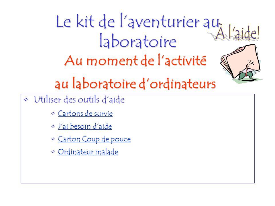 Le kit de laventurier au laboratoire Utiliser des outils daideUtiliser des outils daide Cartons de survieCartons de survieCartons de survieCartons de