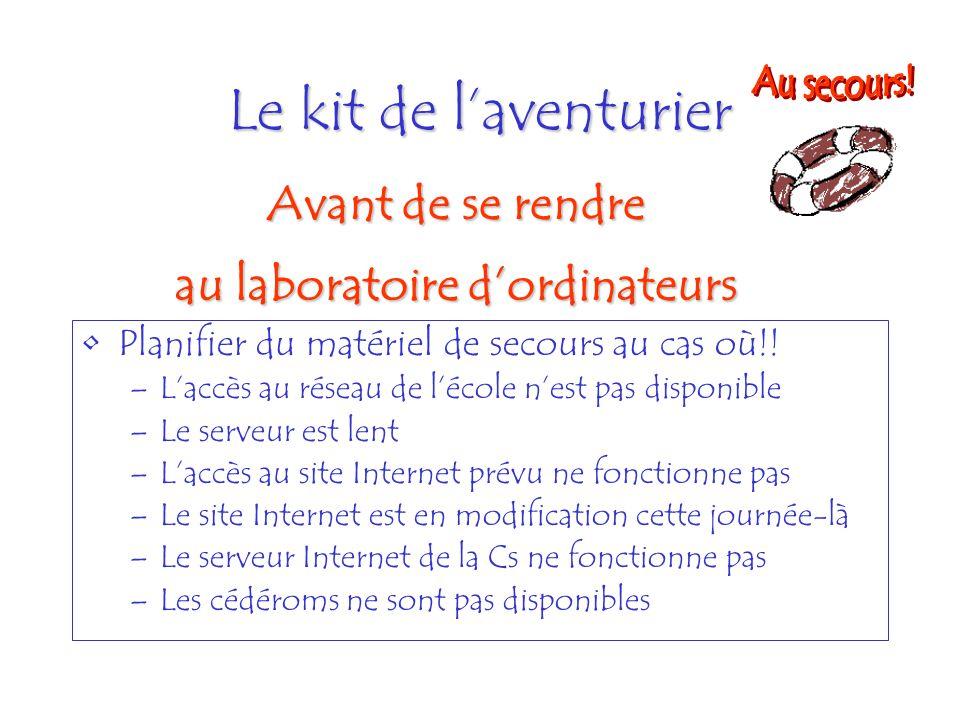 Le kit de laventurier Planifier du matériel de secours au cas où!! –Laccès au réseau de lécole nest pas disponible –Le serveur est lent –Laccès au sit