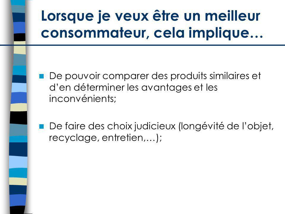 De pouvoir comparer des produits similaires et den déterminer les avantages et les inconvénients; De faire des choix judicieux (longévité de lobjet, recyclage, entretien,…); Lorsque je veux être un meilleur consommateur, cela implique…
