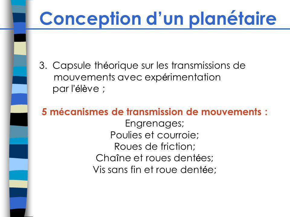 Conception dun planétaire 3. Capsule th é orique sur les transmissions de mouvements avec exp é rimentation par l é l è ve ; 5 m é canismes de transmi