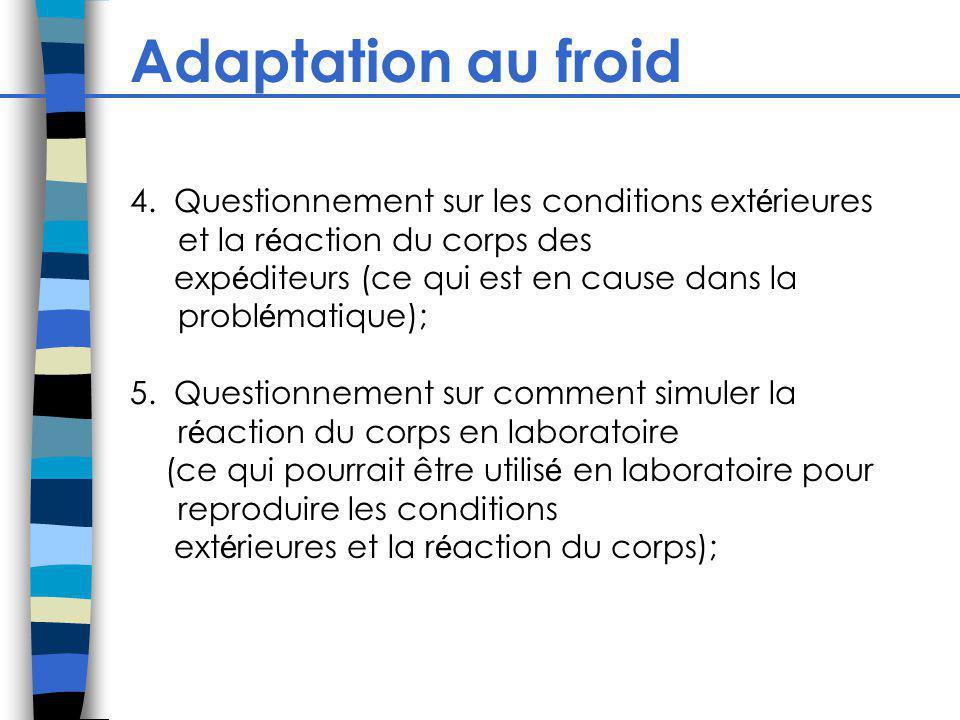 Adaptation au froid 4. Questionnement sur les conditions ext é rieures et la r é action du corps des exp é diteurs (ce qui est en cause dans la probl
