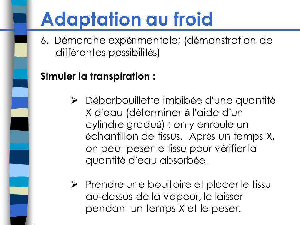 Adaptation au froid 6. D é marche exp é rimentale; (d é monstration de diff é rentes possibilit é s) Simuler la transpiration : D é barbouillette imbi