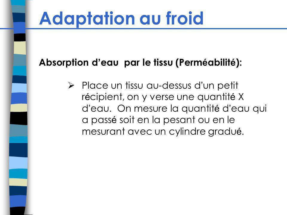Adaptation au froid Absorption d eau par le tissu (Perm é abilit é ): Place un tissu au-dessus d un petit r é cipient, on y verse une quantit é X d ea