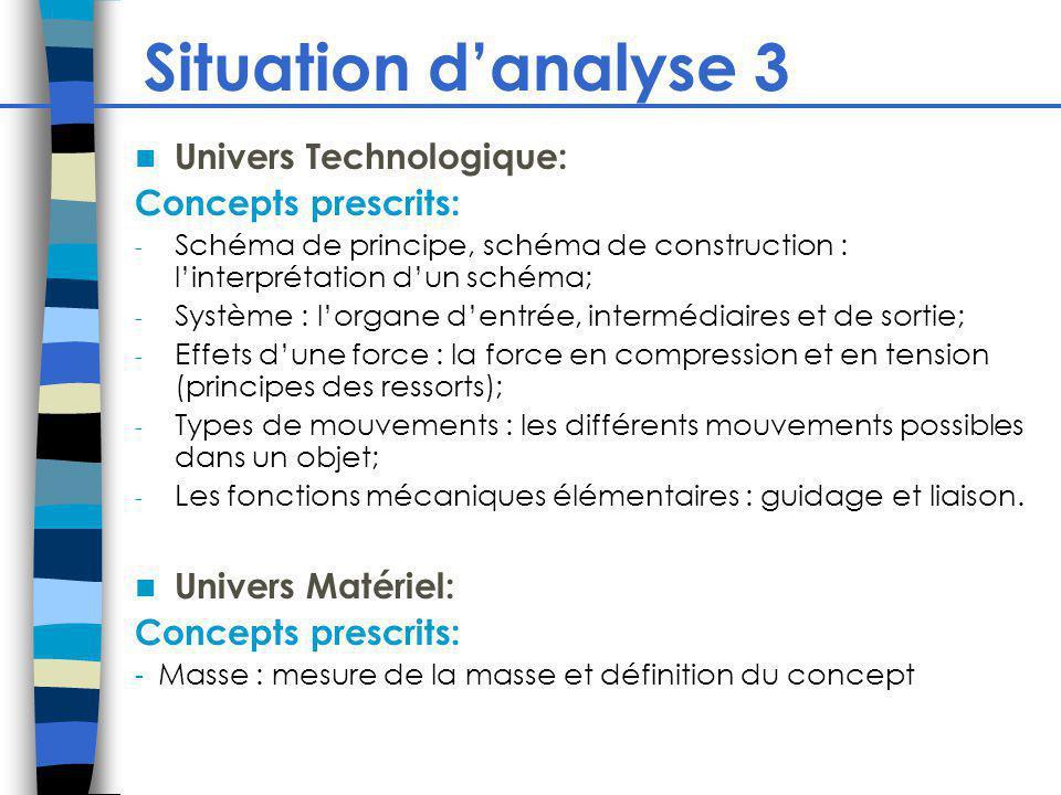 Situation danalyse 3 Univers Technologique: Concepts prescrits: - Schéma de principe, schéma de construction : linterprétation dun schéma; - Système :