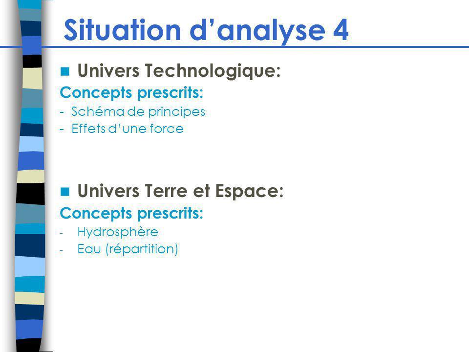 Situation danalyse 4 Univers Technologique: Concepts prescrits: - Schéma de principes - Effets dune force Univers Terre et Espace: Concepts prescrits: - Hydrosphère - Eau (répartition)