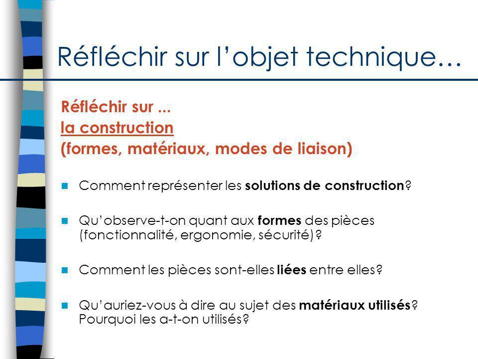 Réfléchir sur lobjet technique… Réfléchir sur... la construction (formes, matériaux, modes de liaison) Comment représenter les solutions de constructi