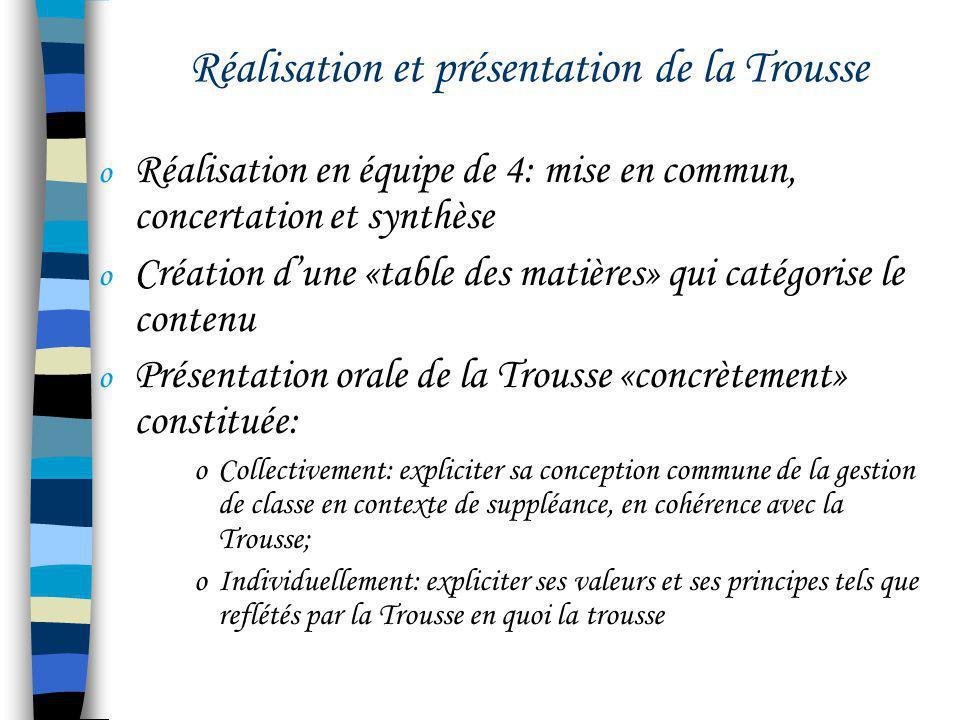 Réalisation et présentation de la Trousse o Réalisation en équipe de 4: mise en commun, concertation et synthèse o Création dune «table des matières»