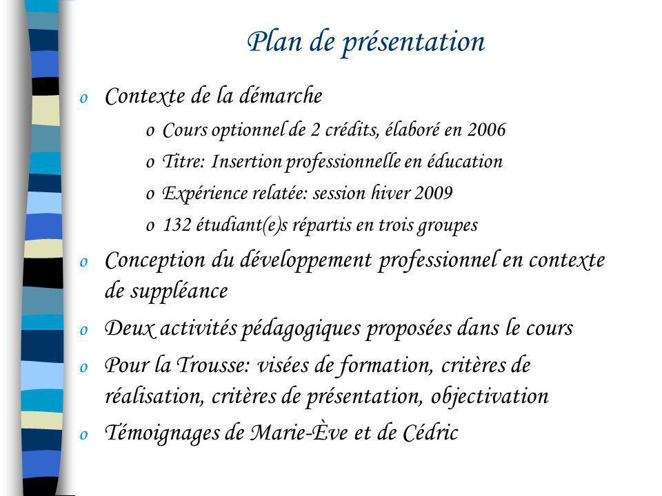 Plan de présentation o Contexte de la démarche oCours optionnel de 2 crédits, élaboré en 2006 oTitre: Insertion professionnelle en éducation oExpérien