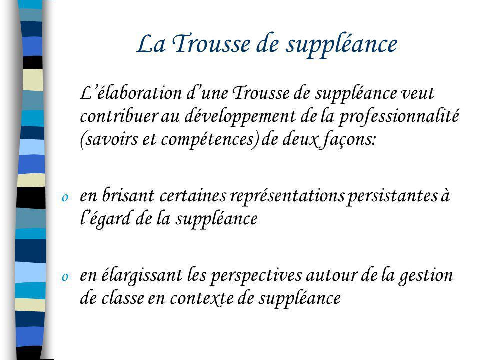 La Trousse de suppléance Lélaboration dune Trousse de suppléance veut contribuer au développement de la professionnalité (savoirs et compétences) de d