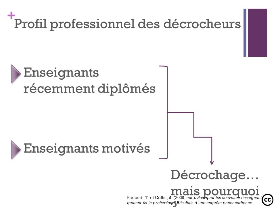 + Profil professionnel des décrocheurs Enseignants récemment diplômés Enseignants motivés Décrochage… mais pourquoi ? Karsenti, T. et Collin, S. (2009