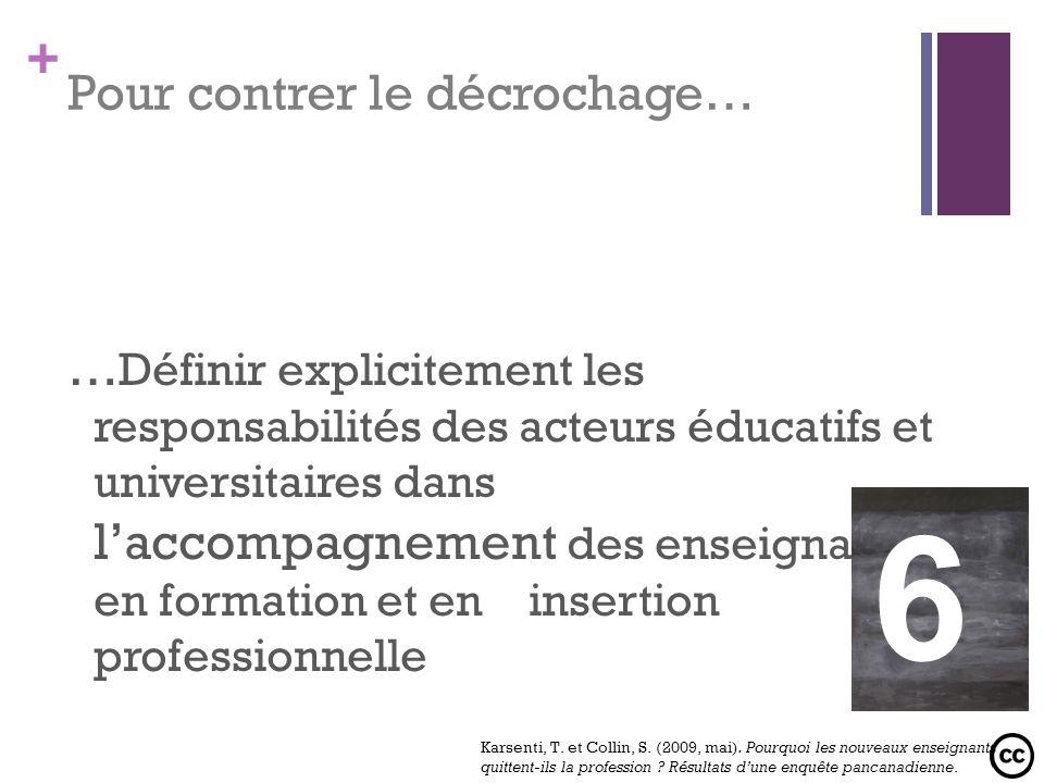 + Pour contrer le décrochage… … Définir explicitement les responsabilités des acteurs éducatifs et universitaires dans laccompagnement des enseignants