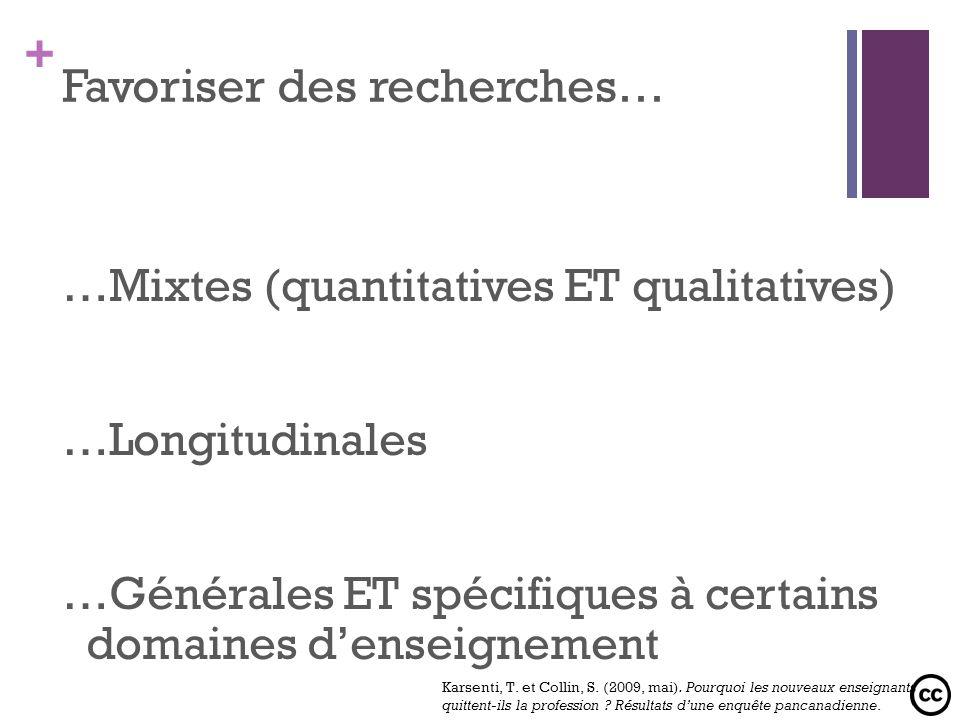 + Favoriser des recherches… …Mixtes (quantitatives ET qualitatives) …Longitudinales …Générales ET spécifiques à certains domaines denseignement Karsen