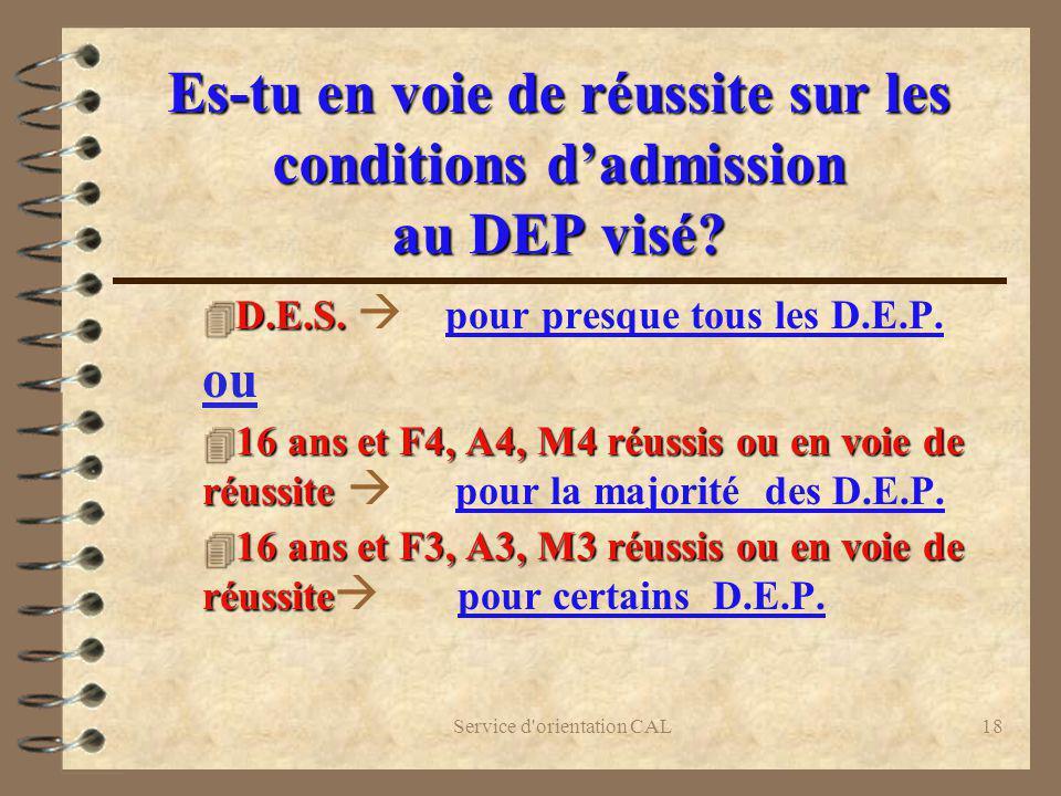 Service d'orientation CAL18 Es-tu en voie de réussite sur les conditions dadmission au DEP visé? 4 D.E.S. 4 D.E.S. pour presque tous les D.E.P. ou 4 1