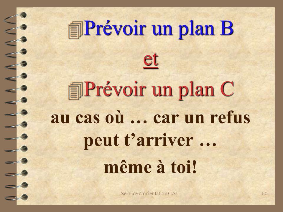 Service d'orientation CAL60 4 Prévoir un plan B et 4 Prévoir un plan C au cas où … car un refus peut tarriver … même à toi!