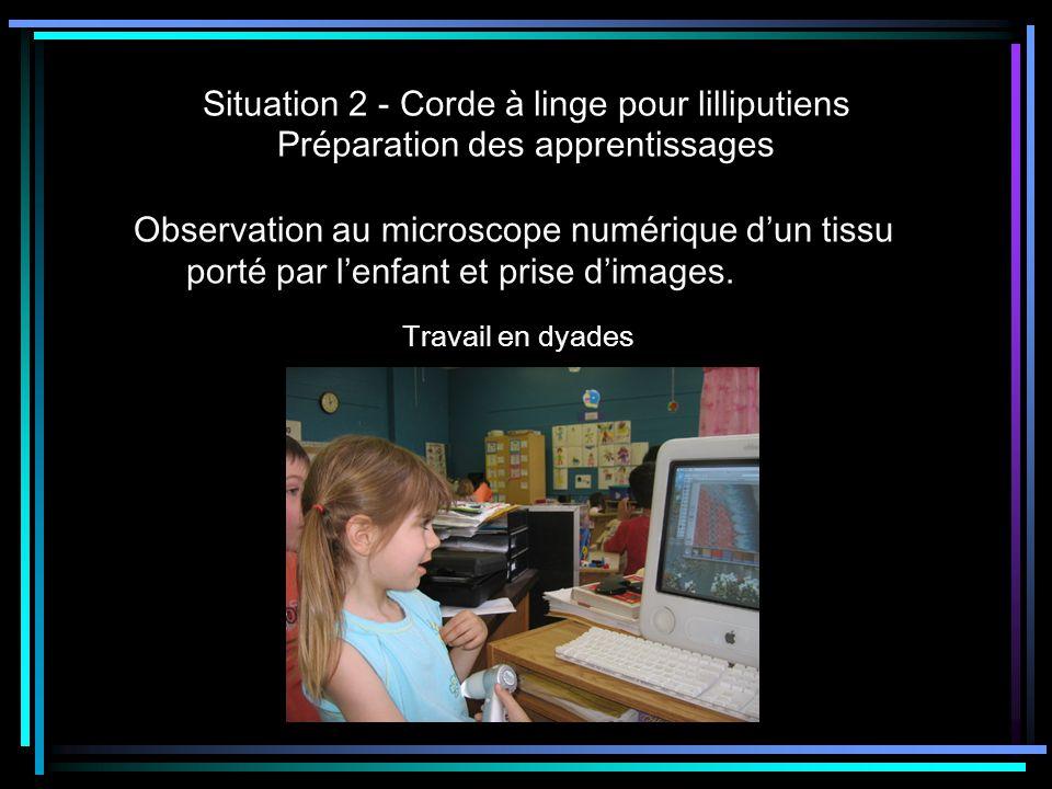 Situation 2 - Corde à linge pour lilliputiens Préparation des apprentissages Observation au microscope numérique dun tissu porté par lenfant et prise