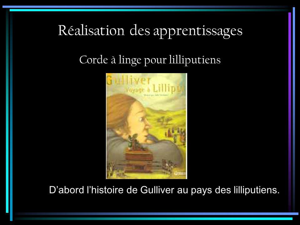Réalisation des apprentissages Corde à linge pour lilliputiens Dabord lhistoire de Gulliver au pays des lilliputiens.