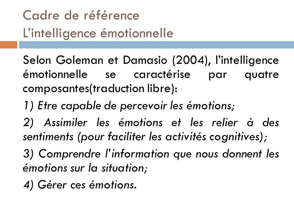 Selon Goleman et Damasio (2004), lintelligence émotionnelle se caractérise par quatre composantes(traduction libre): 1) Etre capable de percevoir les émotions; 2) Assimiler les émotions et les relier à des sentiments (pour faciliter les activités cognitives); 3) Comprendre linformation que nous donnent les émotions sur la situation; 4) Gérer ces émotions.
