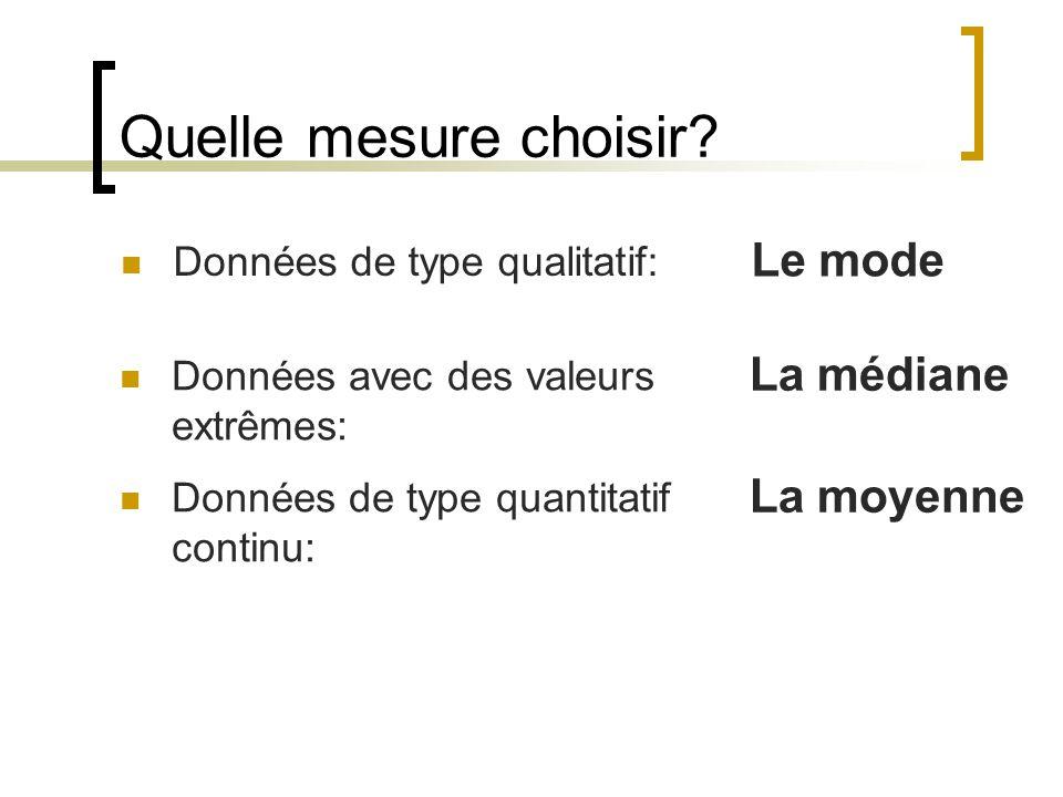 Quelle mesure choisir? Données de type qualitatif: Le mode Données avec des valeurs extrêmes: La médiane Données de type quantitatif continu: La moyen