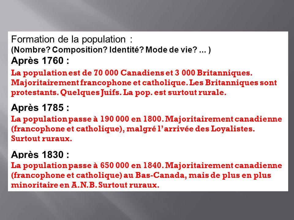 Formation de la population : (Nombre? Composition? Identité? Mode de vie?... ) Après 1760 : Après 1785 : Après 1830 : La population est de 70 000 Cana