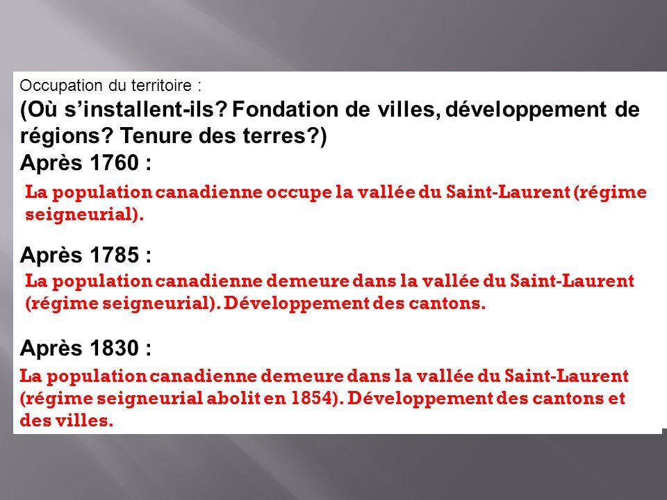 Occupation du territoire : (Où sinstallent-ils? Fondation de villes, développement de régions? Tenure des terres?) Après 1760 : Après 1785 : Après 183