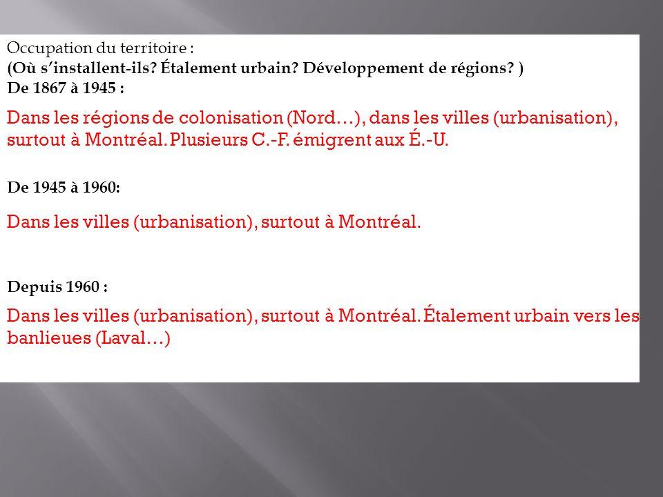 Occupation du territoire : (Où sinstallent-ils? Étalement urbain? Développement de régions? ) De 1867 à 1945 : De 1945 à 1960: Depuis 1960 : Dans les