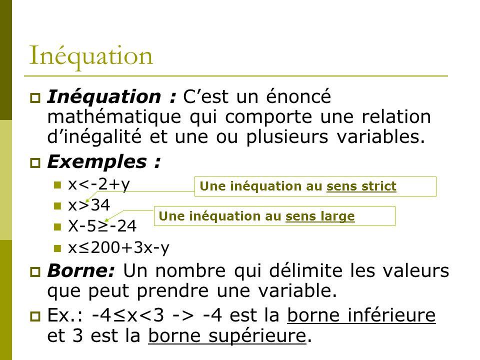 Inéquation Inéquation : Cest un énoncé mathématique qui comporte une relation dinégalité et une ou plusieurs variables. Exemples : x<-2+y x>34 X-5-24