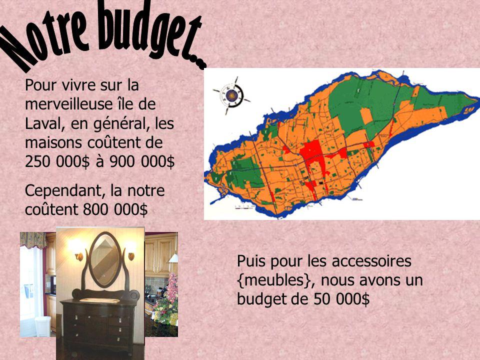 Pour vivre sur la merveilleuse île de Laval, en général, les maisons coûtent de 250 000$ à 900 000$ Cependant, la notre coûtent 800 000$ Puis pour les accessoires {meubles}, nous avons un budget de 50 000$