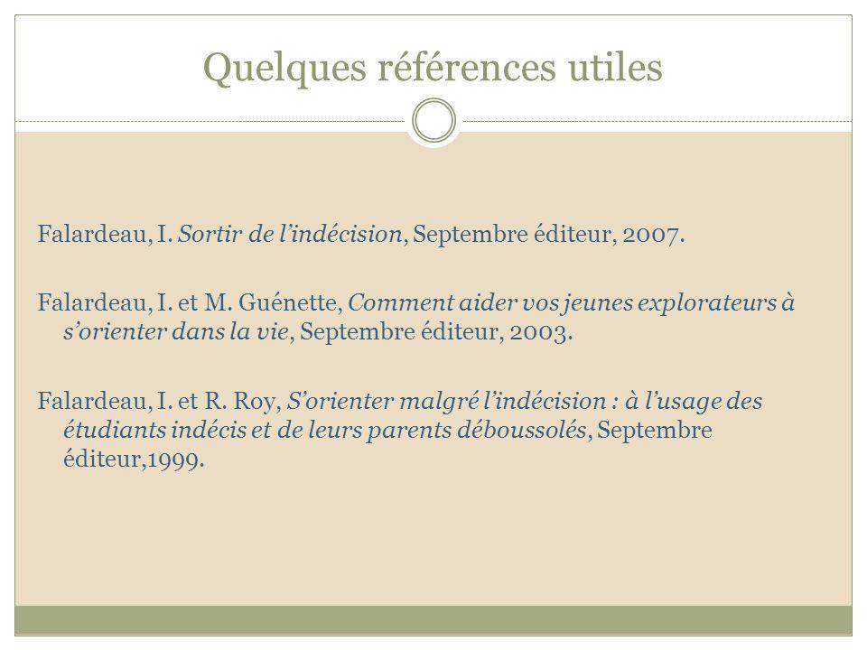 Quelques références utiles Falardeau, I. Sortir de lindécision, Septembre éditeur, 2007. Falardeau, I. et M. Guénette, Comment aider vos jeunes explor