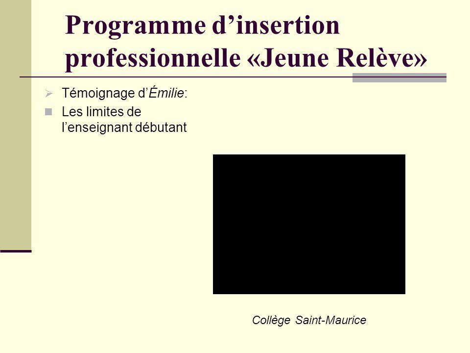 Programme dinsertion professionnelle «Jeune Relève» Témoignage dÉmilie: Les limites de lenseignant débutant Collège Saint-Maurice