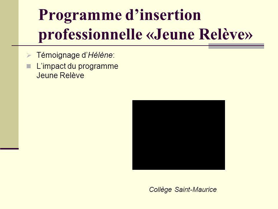 Programme dinsertion professionnelle «Jeune Relève» Témoignage dHélène: Limpact du programme Jeune Relève Collège Saint-Maurice