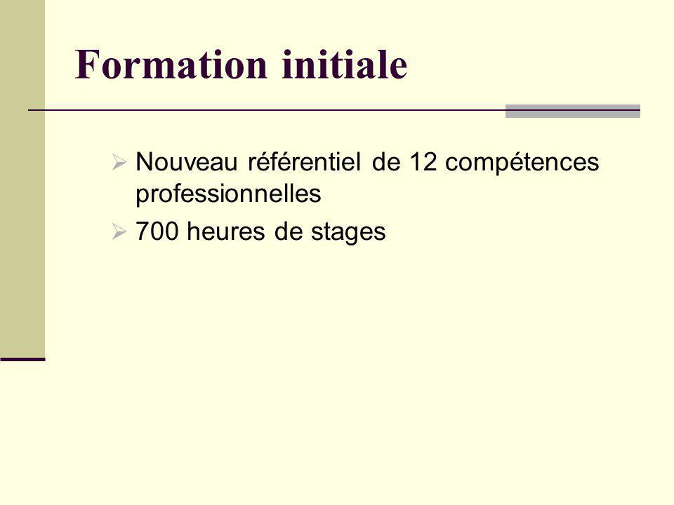 Formation initiale Nouveau référentiel de 12 compétences professionnelles 700 heures de stages
