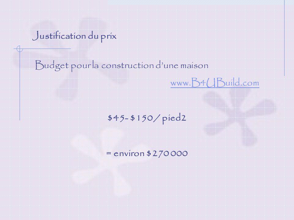 Justification du prix Budget pour la construction dune maison www.B4UBuild.com $45- $150 / pied2 = environ $270 000