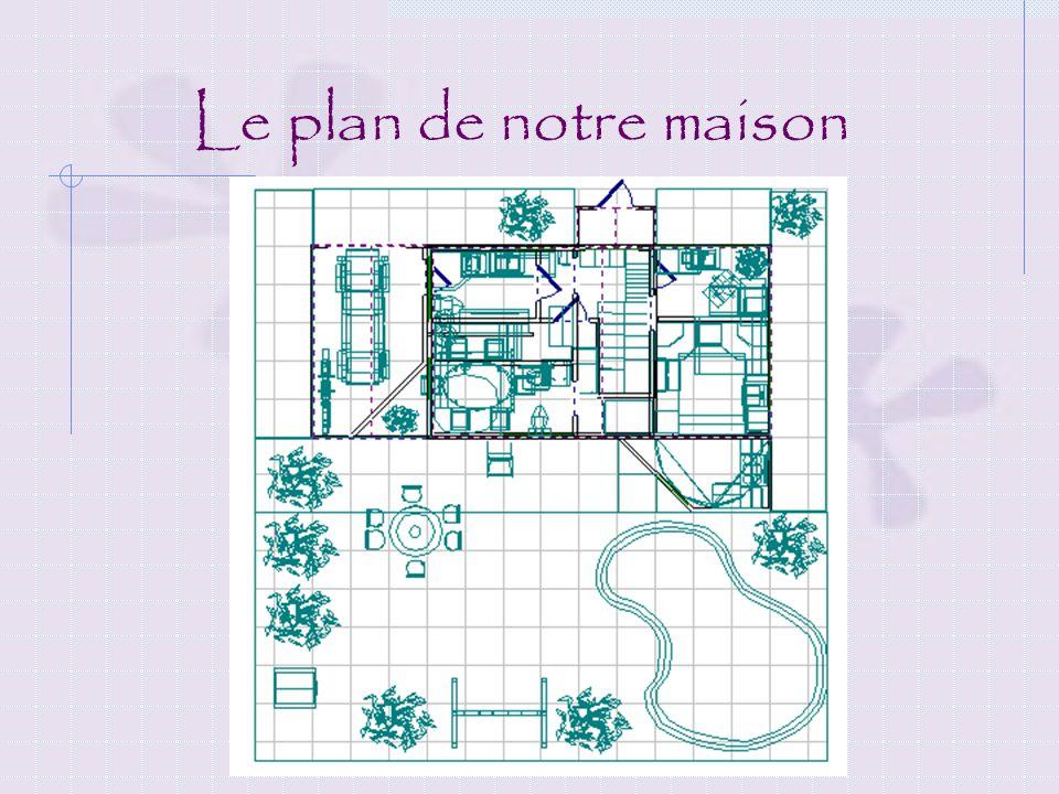 Decription de notre maison 1er étage: Salon avec un foyer Cuisine Salle à manger Salle de bain Garage