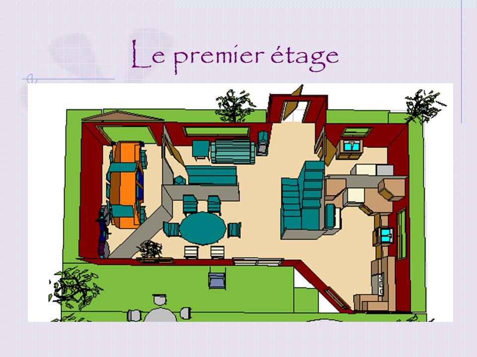 2e étage: Chambre à coucher (2) -1 avec balcon pour le garçon -1 avec une garde-robe pour la fille Salle de bain Decription de notre maison