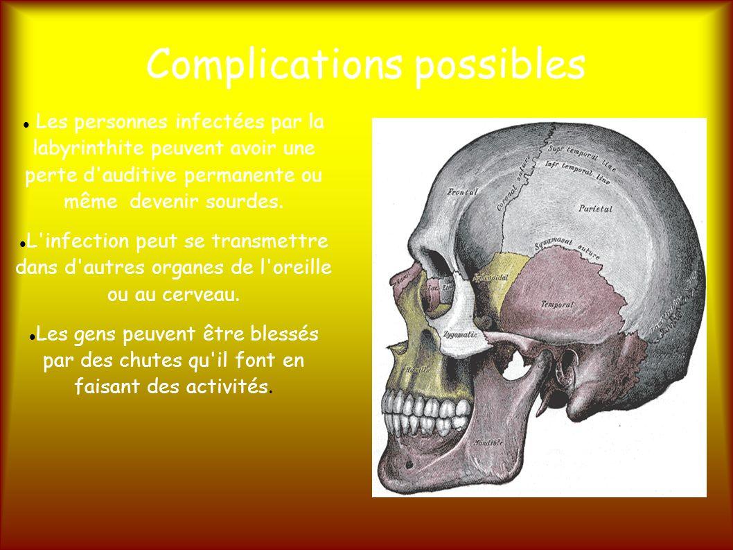 Complications possibles Les personnes infectées par la labyrinthite peuvent avoir une perte d auditive permanente ou même devenir sourdes.