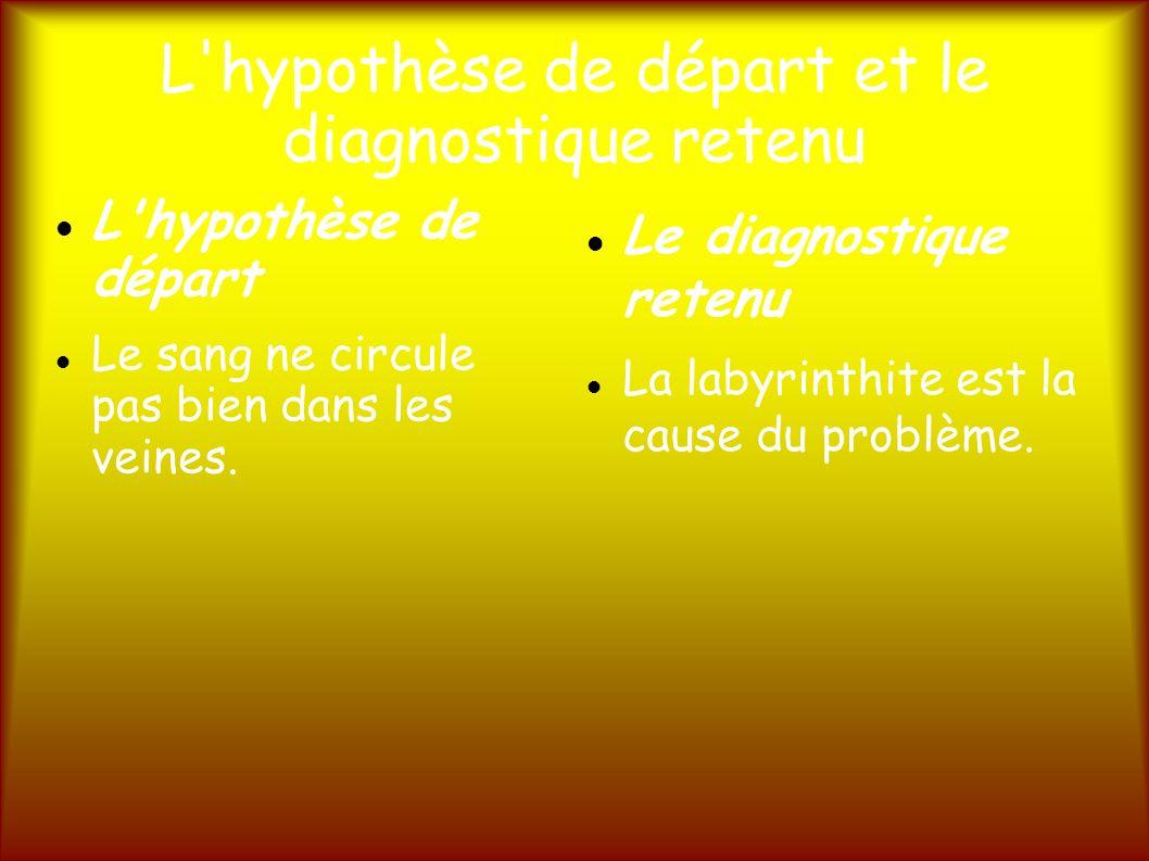 L hypothèse de départ et le diagnostique retenu L hypothèse de départ Le sang ne circule pas bien dans les veines.