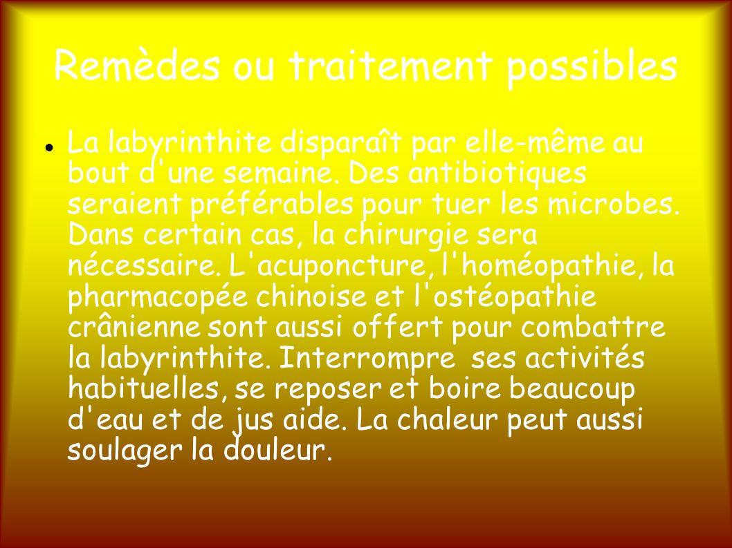 Remèdes ou traitement possibles La labyrinthite disparaît par elle-même au bout d une semaine.