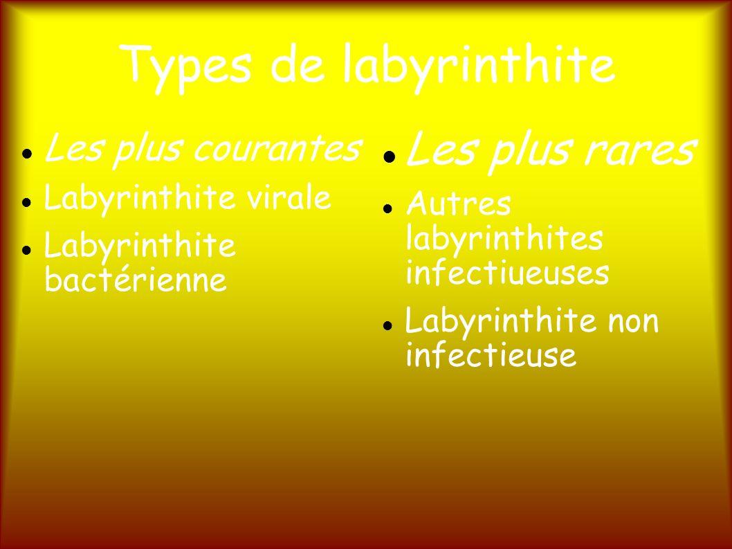 Types de labyrinthite Les plus courantes Labyrinthite virale Labyrinthite bactérienne Les plus rares Autres labyrinthites infectiueuses Labyrinthite non infectieuse