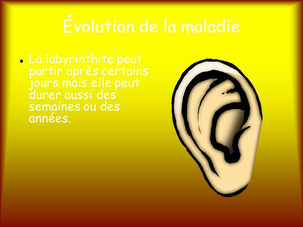 Évolution de la maladie La labyrinthite peut partir après certains jours mais elle peut durer aussi des semaines ou des années.