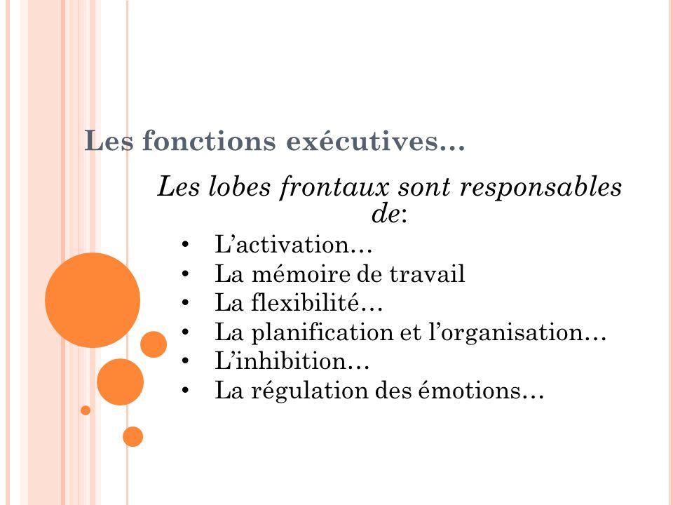 Les lobes frontaux sont responsables de : Lactivation… La mémoire de travail La flexibilité… La planification et lorganisation… Linhibition… La régula