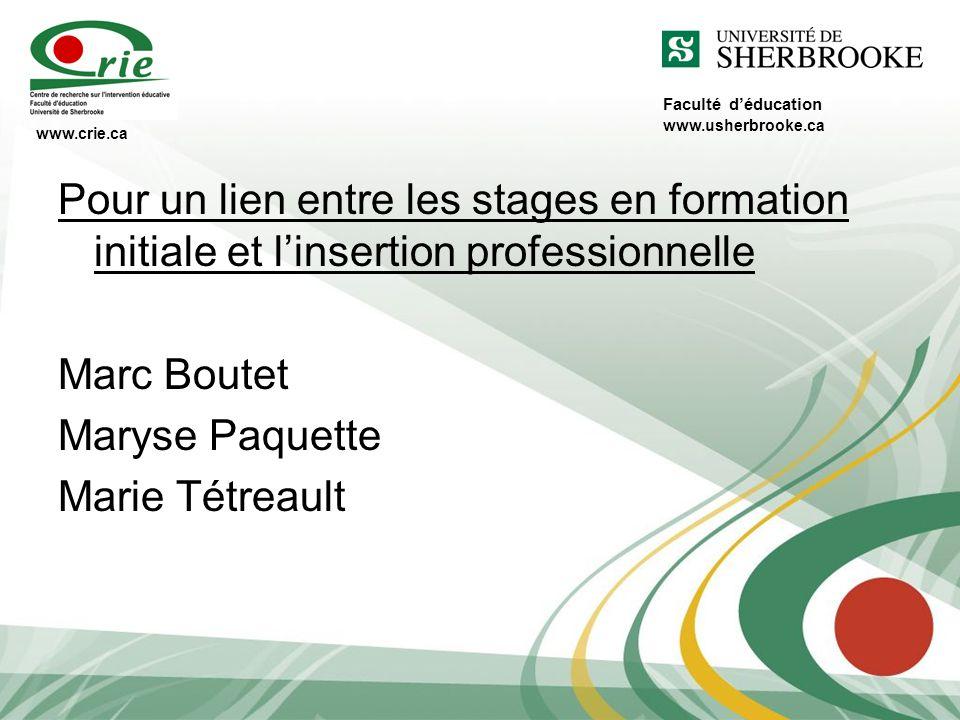 Faculté déducation Pour un lien entre les stages en formation initiale et linsertion professionnelle Marc Boutet Maryse Paquette Marie Tétreault www.c