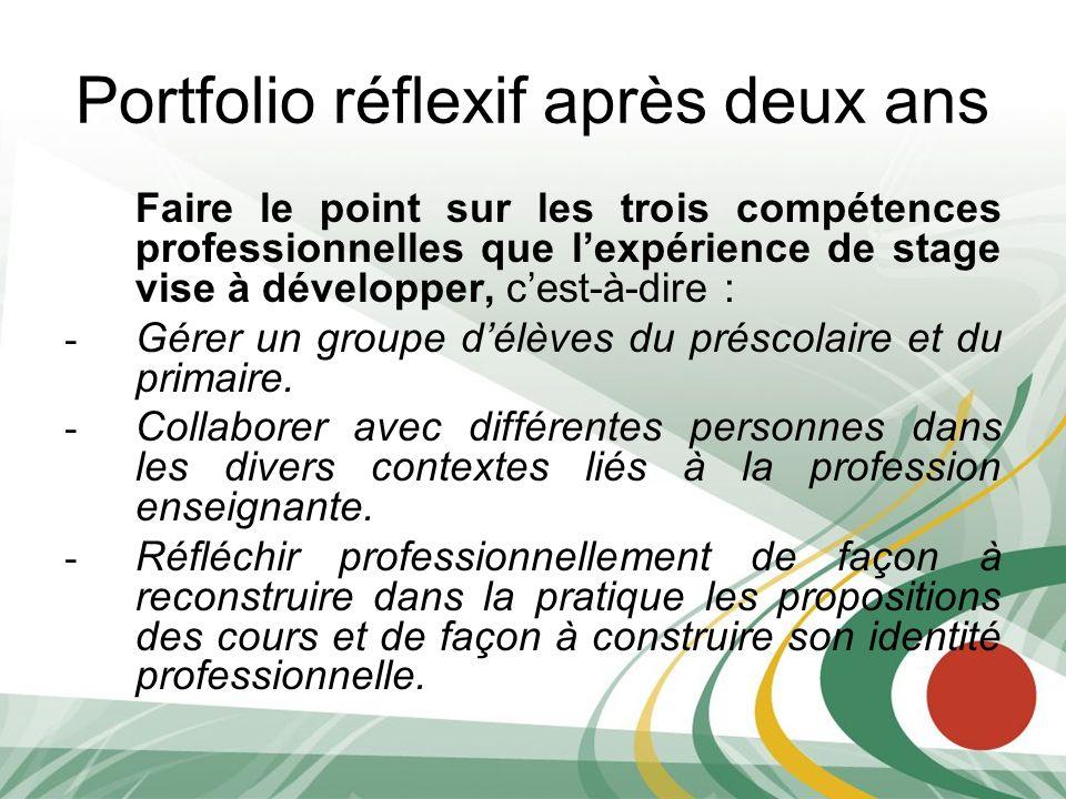 Portfolio réflexif après deux ans Faire le point sur les trois compétences professionnelles que lexpérience de stage vise à développer, cest-à-dire :