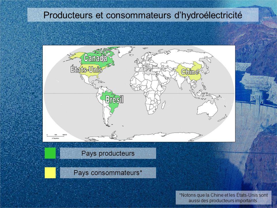 Producteurs et consommateurs dhydroélectricité Pays producteurs Pays consommateurs* *Notons que la Chine et les États-Unis sont aussi des producteurs importants.