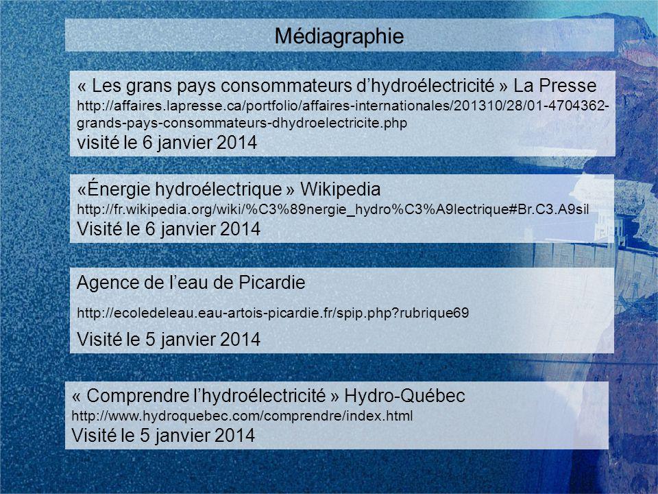 « Les grans pays consommateurs dhydroélectricité » La Presse http://affaires.lapresse.ca/portfolio/affaires-internationales/201310/28/01-4704362- grands-pays-consommateurs-dhydroelectricite.php visité le 6 janvier 2014 Médiagraphie «Énergie hydroélectrique » Wikipedia http://fr.wikipedia.org/wiki/%C3%89nergie_hydro%C3%A9lectrique#Br.C3.A9sil Visité le 6 janvier 2014 Agence de leau de Picardie http://ecoledeleau.eau-artois-picardie.fr/spip.php rubrique69 Visité le 5 janvier 2014 « Comprendre lhydroélectricité » Hydro-Québec http://www.hydroquebec.com/comprendre/index.html Visité le 5 janvier 2014