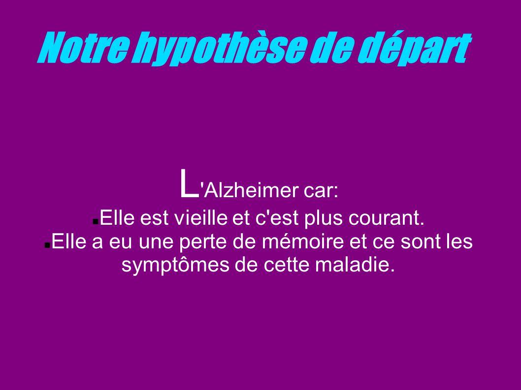 Notre hypothèse de départ L 'Alzheimer car: Elle est vieille et c'est plus courant. Elle a eu une perte de mémoire et ce sont les symptômes de cette m