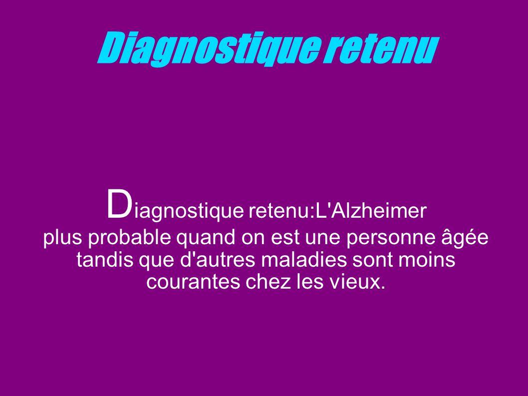 Diagnostique retenu D iagnostique retenu:L'Alzheimer plus probable quand on est une personne âgée tandis que d'autres maladies sont moins courantes ch