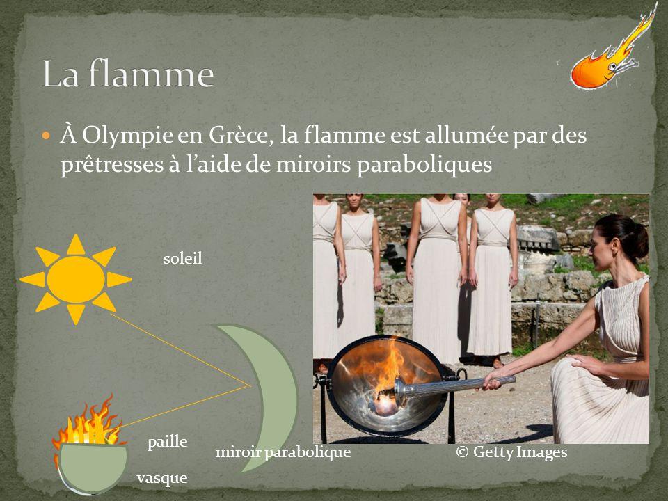 À Olympie en Grèce, la flamme est allumée par des prêtresses à laide de miroirs paraboliques soleil miroir parabolique vasque paille © Getty Images